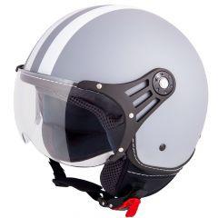 Vinz Fiori mat grijs witte strepen jethelm fashionhelm scooterhelm motorhelm vooraanzicht