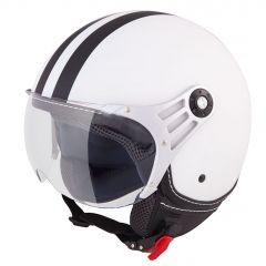 Vinz Fiori mat wit zwarte strepen jethelm fashionhelm scooterhelm motorhelm vooraanzicht