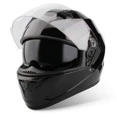 Vinz Kennet zwart integraalhelm scooterhelm motorhelm Zonnevizier vooraanzicht open vizier