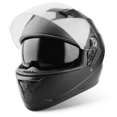 Vinz Kennet mat zwart integraalhelm scooterhelm motorhelm zonnevizier vooraanzicht open vizier