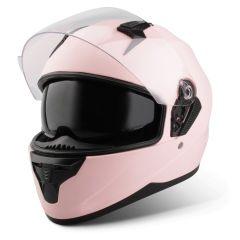 Vinz Kennet mat roze integraalhelm scooterhelm motorhelm zonnevizier vooraanzicht open vizier